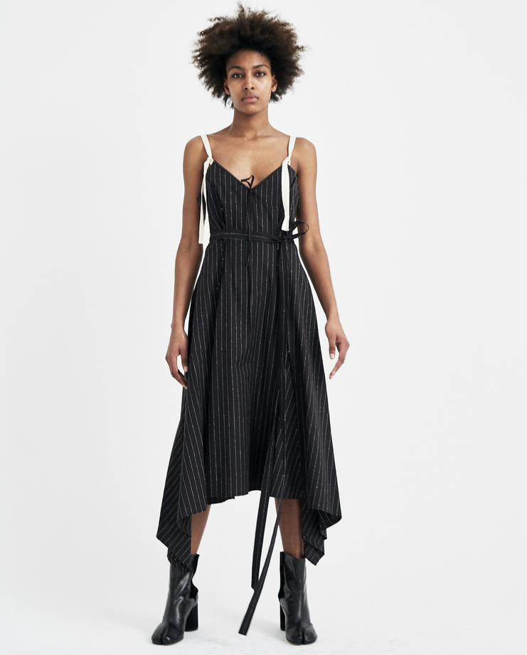 Christian Dada Striped Flared Camisole Dress ss18 spring summer 2018 maxi skirt pinstripe chris dada black