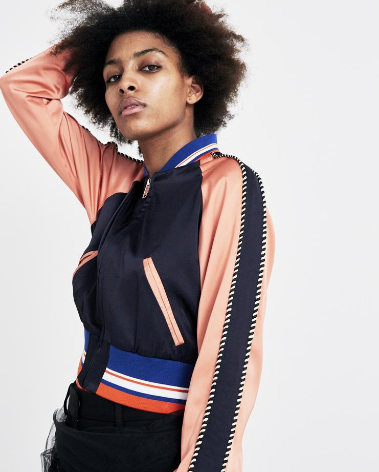 Christian Dada Cropped 'Souvenir' Jacket ss18 spring summer 2018 puffy satin navy pink track top chris dada