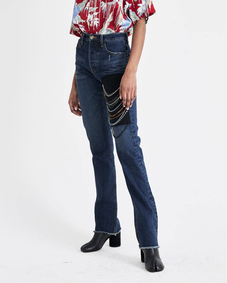 Hyein Seo Indigo Beaded Denim Trousers DPT21 new arrivals jeans womens S/S 18 spring summer collection Machine A SHOWstudio