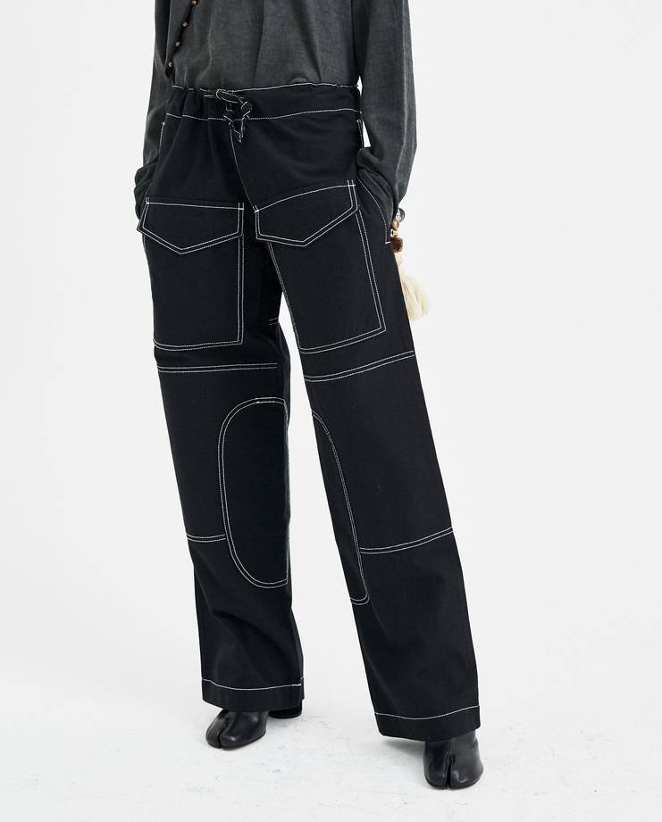 Hyein Seo Black Work Trousers with Keyring PT1K new arrivals womens pants SHOWstudio Machine A S/S 18 spring summer collection
