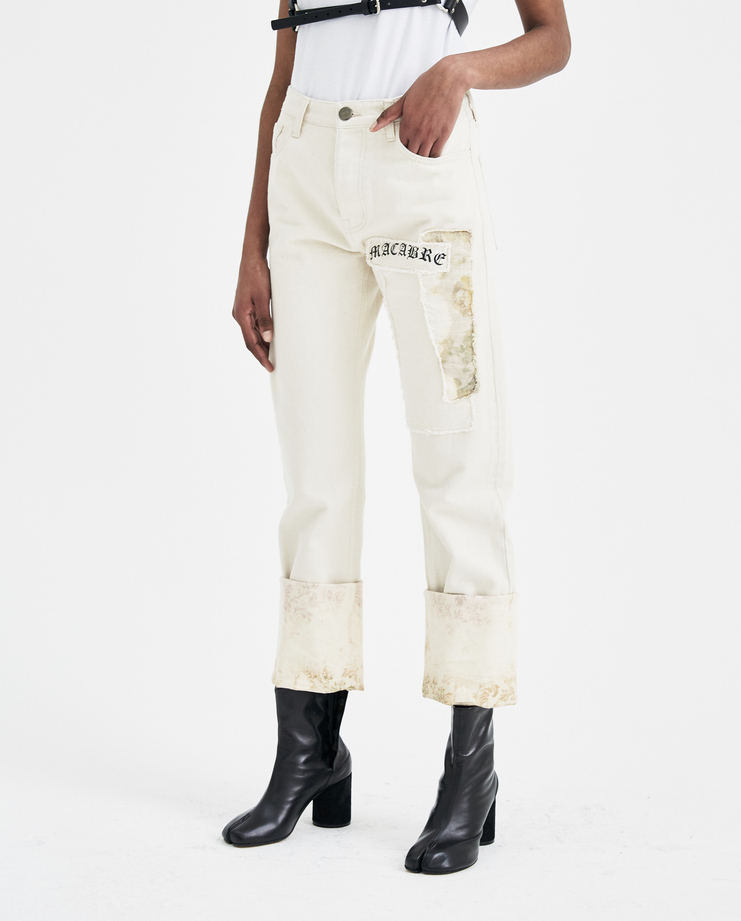 Hyein Seo Off White Patchwork Denim Trousers DPT1W new arrivals womens jeans S/S 18 spring summer collection Machine A SHOWstudio patched jeans