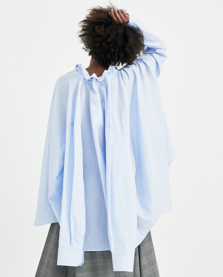 Y/Project Light Blue Linen Shirt SHIRT14-S14 new arrivals womens S/S 18 spring summer collection Machine A SHOWstudio shirts tops