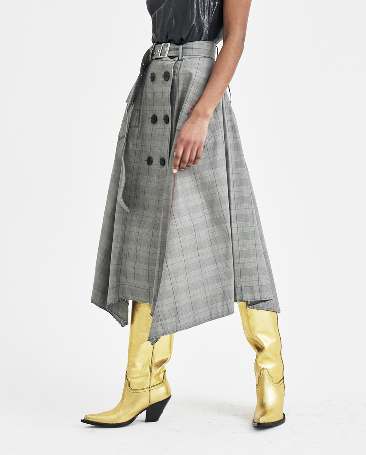 Christian Dada Grey Checked Trench Skirt CDW-18S-0702A new arrivals womens skirts plaid S/S 18 spring summer collection SHOWstudio Machine A
