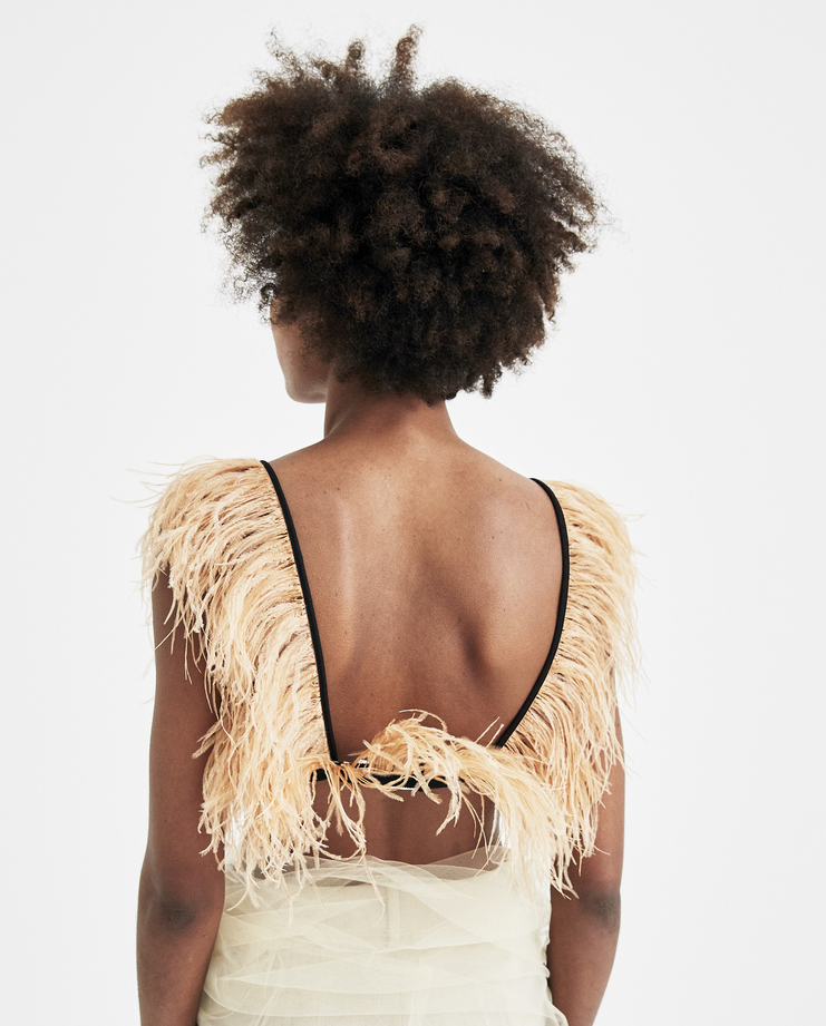 Maison Margiela Feather-Embellished Bra S29RJ0010 new arrivals womens Machine A SHOWstudio bralet bra top S/S 18 spring summer collection