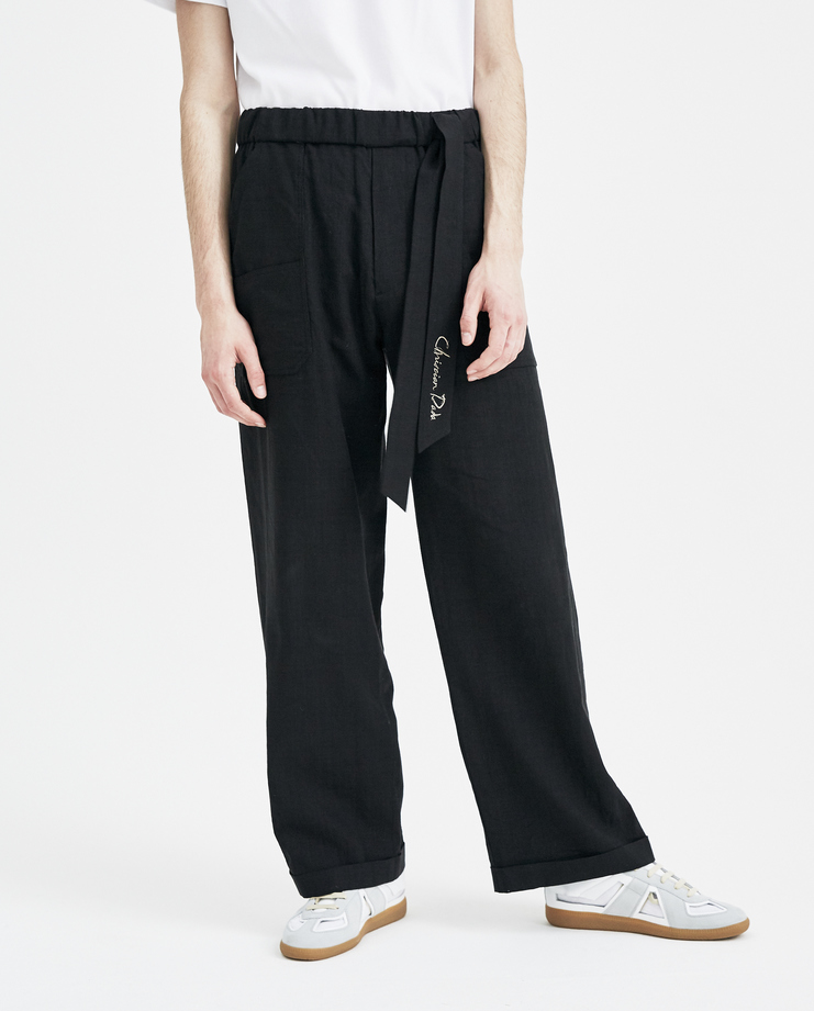 Christian Dada Black Alpaca Linen Baker Trousers CDM-18S-0602A new arrivals mens trousers plaid Machine A SHOWstudio S/S 18 spring summer collection