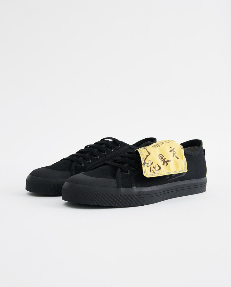 adidas x Raf Simons Black and Yellow RS Spirit Low Assym Tongue B22535 trainers sneakers new arrivals SHOWstudio Machine A sportswear sneakers collaboration S/S 18 spring summer collection