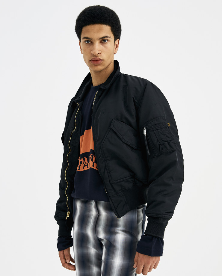 ALYX Black Distressed Pilot Bomber Jacket AAWOU0013A01 new arrivals S/S 18 spring summer collection Machine A SHOWstudio unisex jackets