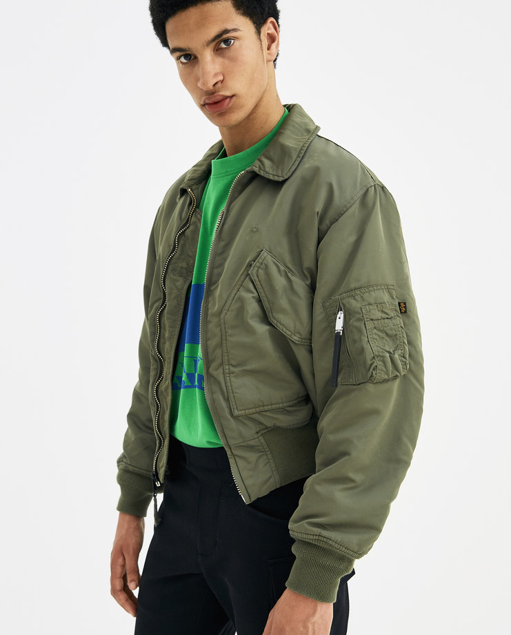 ALYX Green Distressed Pilot Bomber Jacket AAWOU0013A01 new arrivals S/S 18 spring summer collection Machine A SHOWstudio unisex jackets