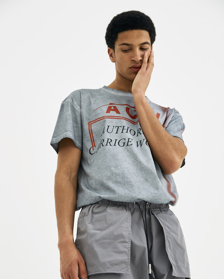 A-COLD-WALL* ACW samuel Ross Authorised Carriage Worker grey top tee tshirt Slat Autho Carriage Worker T-Shirt SS2 new arrivals men's tops S/S 18 spring summer showstudio machine a machine-a