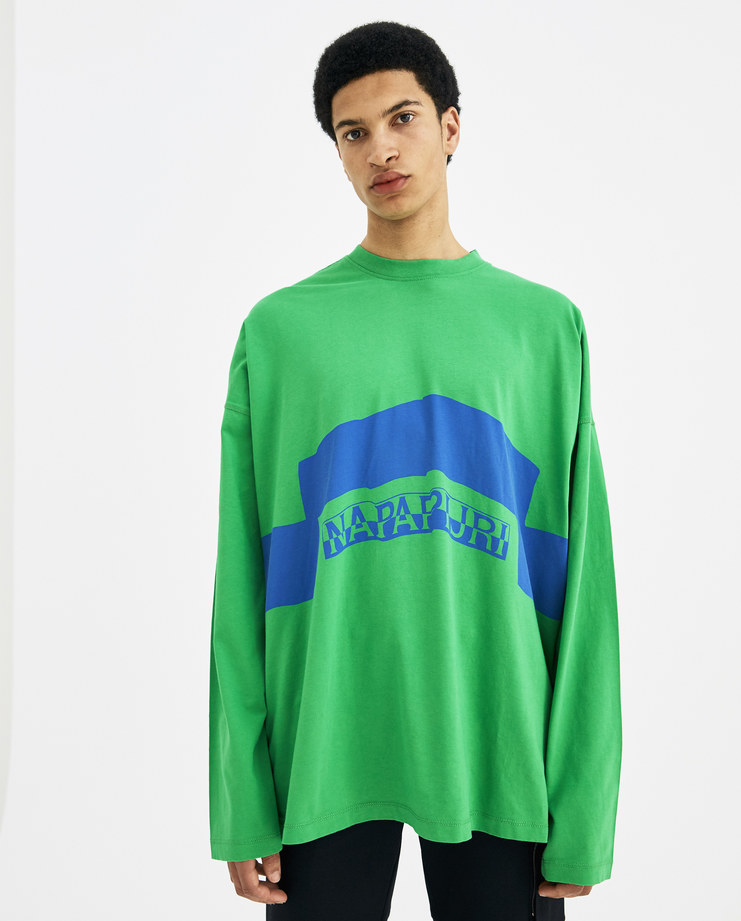Napapijri x Martine Rose Green and Blue Siri T-Shirt N0YHSU new arrivals S/S 18 spring summer collection Machine A SHOWstudio long sleeve top mens