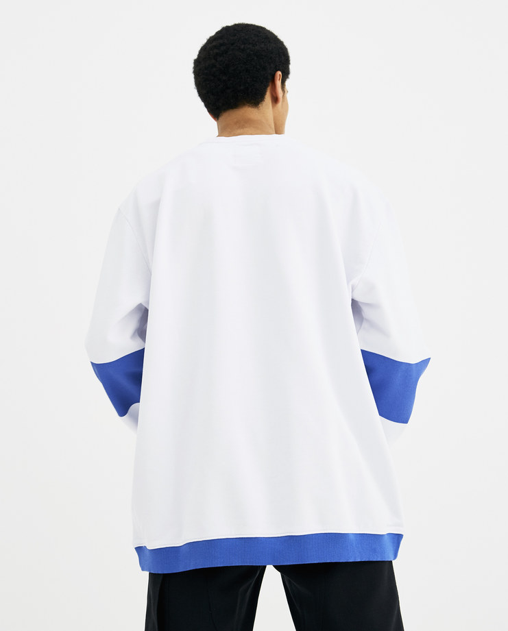 Napapijri x Martine Rose White and Blue Bacchus Sweatshirt N0YHHZ new arrivals S/S 18 spring summer collection Machine A SHOWstudio sweater mens