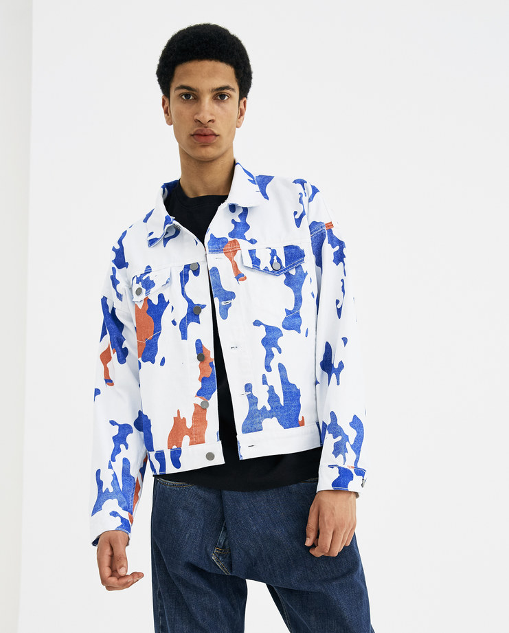 424 White and Blue Varsity Trucker with Hood 424C-SS18-0056 new arrivals S/S 18 spring summer collection Machine A SHOWstudio mens sportswear jacket zip