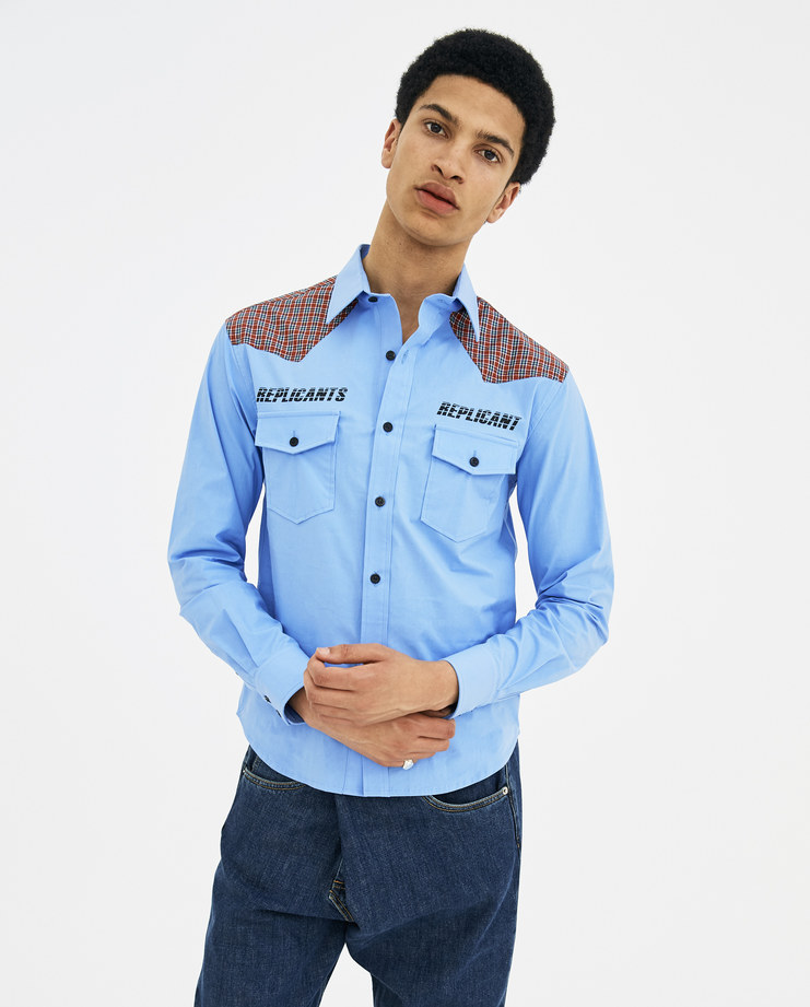 """Raf Simons Blue """"Repicant"""" Shirt with Pockets 181-221-10000-00040 new arrivals mens Machine A SHOWstudio S/S 18 spring summer collection"""