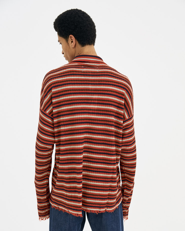 Maison Margiela Red Long Sleeve Striped Distressed Polo S30HB0002 new arrivals Machine A SHOWstudio tops S/S 18 spring summer collection