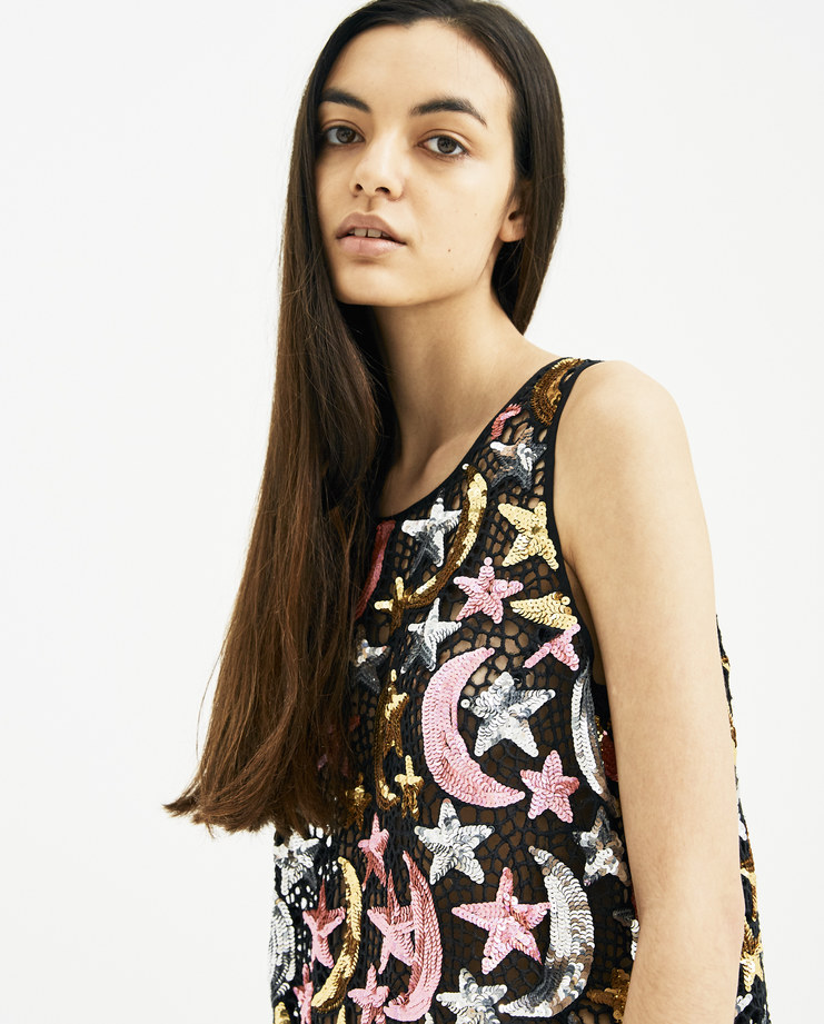 Ashish Pink and Black Sequin Star Moon Tank Top T034 new arrivals Machine A Machine-A SHOWstudio SS18 collection spring summer silver star and moon sequin-embellished cotton mesh womens