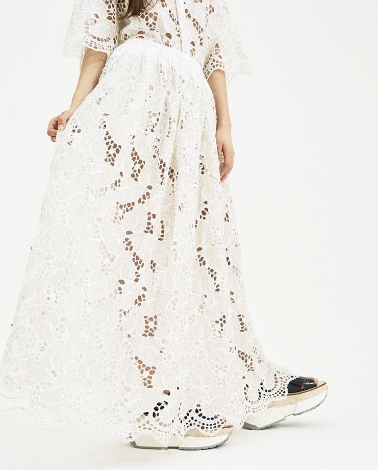 Ashish Lace Leaf Gathered Skirt S009 white silver Embroidery SHOWstudio Machine A Spring summer 2018 S/S 18 New arrivals