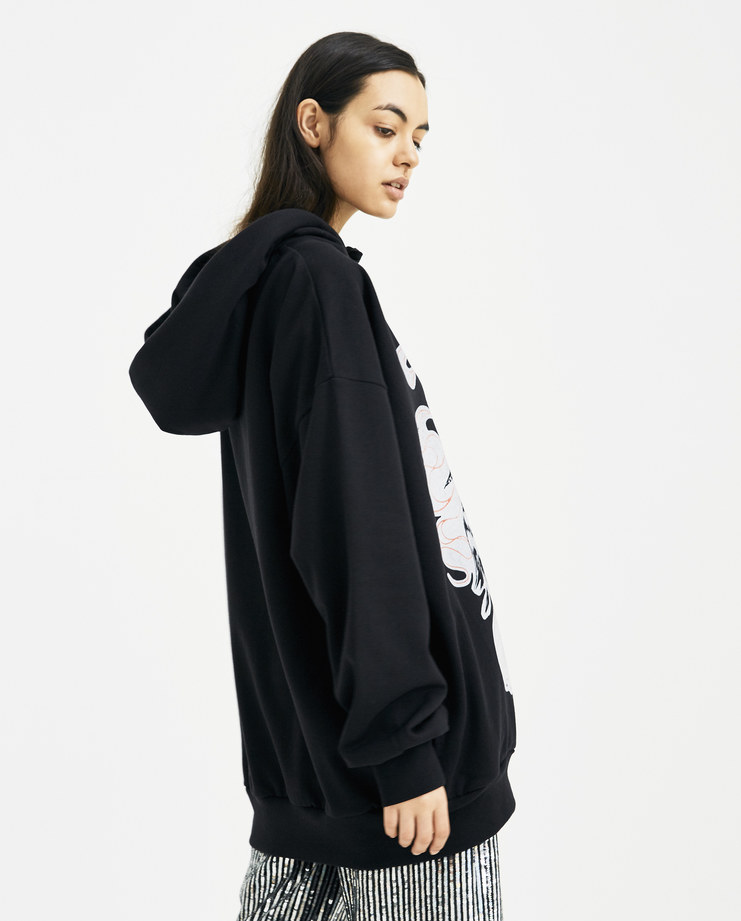 Ashish Black Flock Print Hoodie J012 new arrivals SS18 spring summer collection womens Machine A Machine-A SHOWstudio hood jumpers
