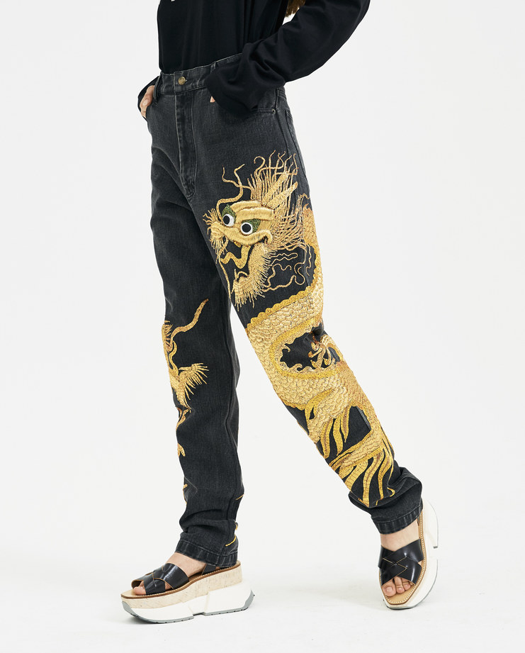 Ashish Black Dragon Zardozi Jeans P009 new arrivals SS18 spring summer collection womens jeans denim trousers embroidered Machine A Machine-A SHOWstudio