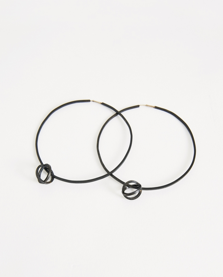 iLiLiP Black Medium Hoop Earrings Machine A Showstudio Spring summer 2018 SS 18 hoops accessories sterling silver