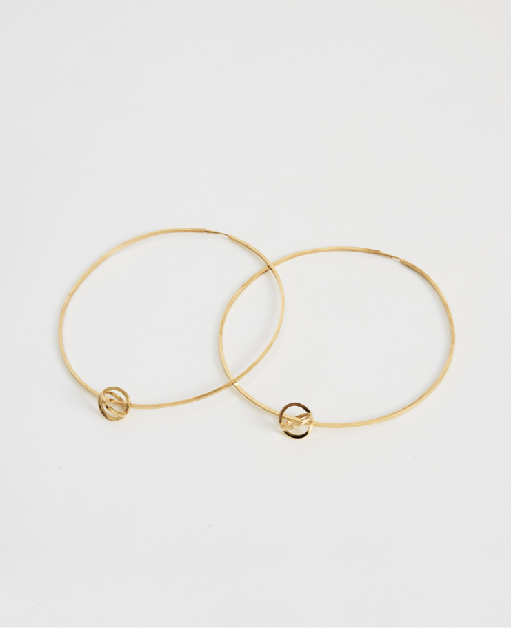 iLiLiP Gold Large Hoop Earrings gold plated sterling silver hoops spring summer SS18 accessories jewellery Machine A SHOWstudio