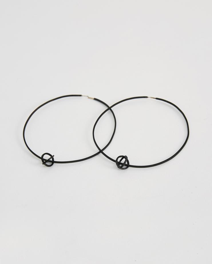iLiLiP Black Large Hoop Earrings Machine A SHOWstudio spring summer SS18 accessories jewellery big hoops
