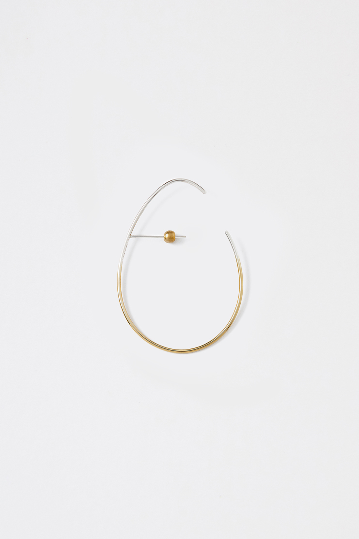 Beauton Gold and Silver Egg Earring BT1-EG-E01-RS stud minimalistic jewellery 14CT gold sterling silver showstudio machine-a machine a