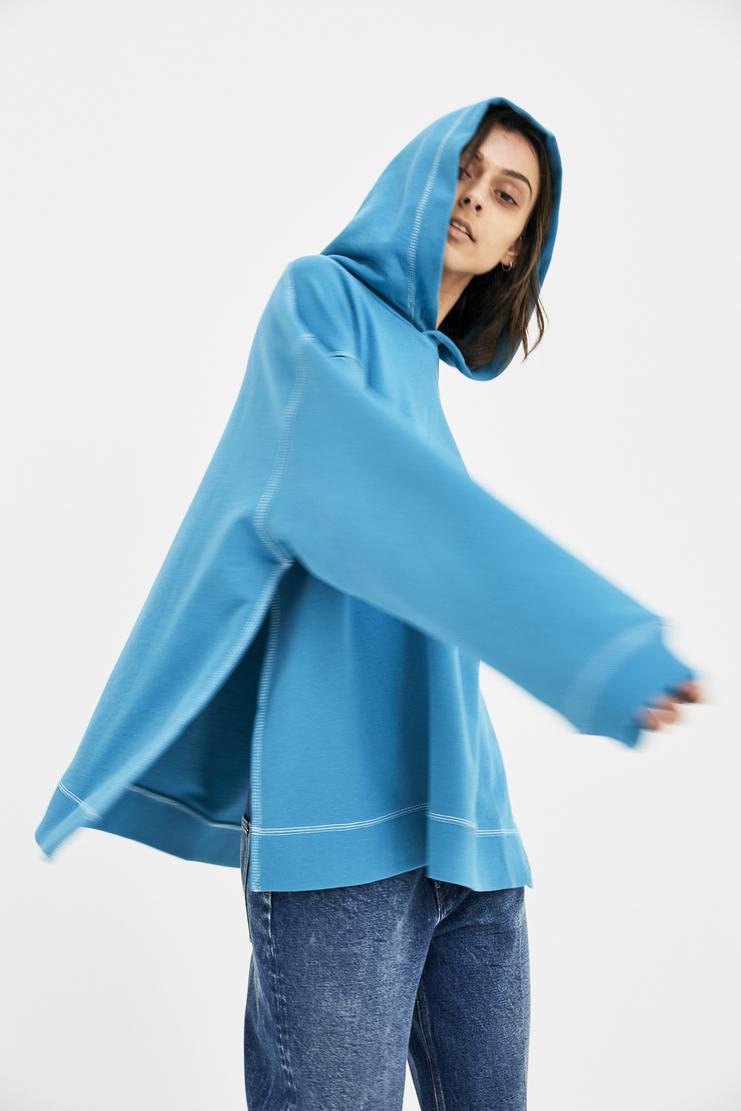 MM6 Blue Oversized Sweatshirt Hoodie Pullover Jumper Sweater Slit Exposed Blue Panel Whtie Hood S/S 18 SS18 Maison Margiela Mason Margela Margella Mason Margeila S52GU0040