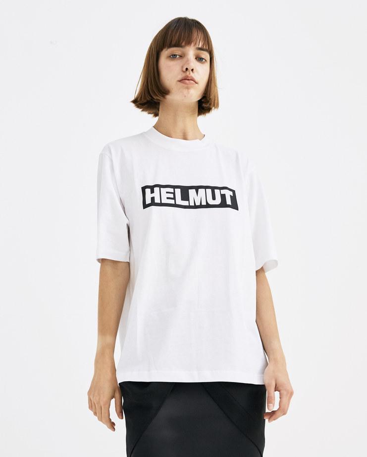 Helmut Lang White Logo T-Shirt Womens new arrivals Spring summer 2018 SS 18 SHOWstudio Machine A I04HM502 tee logo