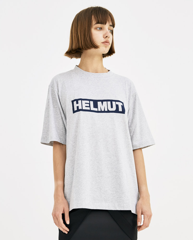 Helmut Lang Grey Logo T-Shirt Womens new arrivals Spring summer 2018 SS 18 SHOWstudio Machine A I04HM502 tee short