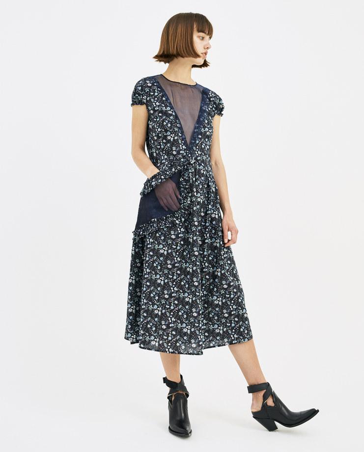 DELADA Floral Long Dress with Asymmetrical Pocket DWSDR01 CO womens fashion dresses SS18 spring summer showstudio machine a machine-a