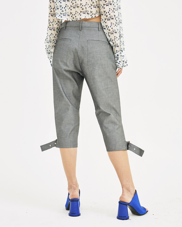 DELADA Grey Slim Shorts MS3SHIRT1 CO adjustable straps womens fashion trousers spring summer SS18 Machine A Machine-A SHOWstudio