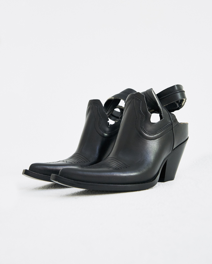 Maison Margiela Black Cut Out Texan Boots S39WP0052 ankle boots sandals SS18 spring summer collection Machine A Machine-A SHOWstudio
