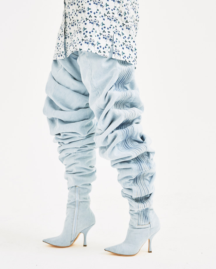 Y/PROJECT Ice Blue Boots BOOT17784-S14 womens shoes boot spring summer SS18 SHOWstudio Machine A Machine-A thigh high denim jeans