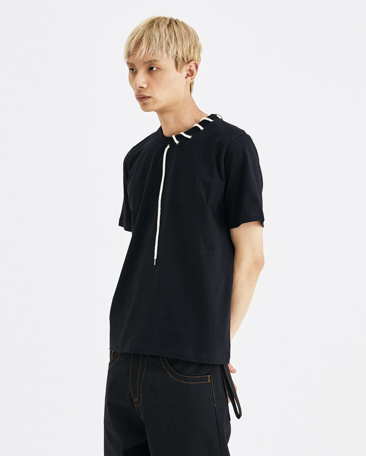 Craig Green Black Rope Laced T-Shirt tee cotton tie ss18 aw18 core creig lfw machine a eyelet CGAW18CJETS01