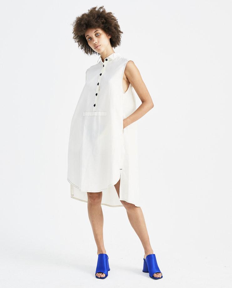 MM6 Sleeveless Off-White Dress S32CT0956 womens shirt dresses asymmetric hem SS18 spring summer showstudio machine a