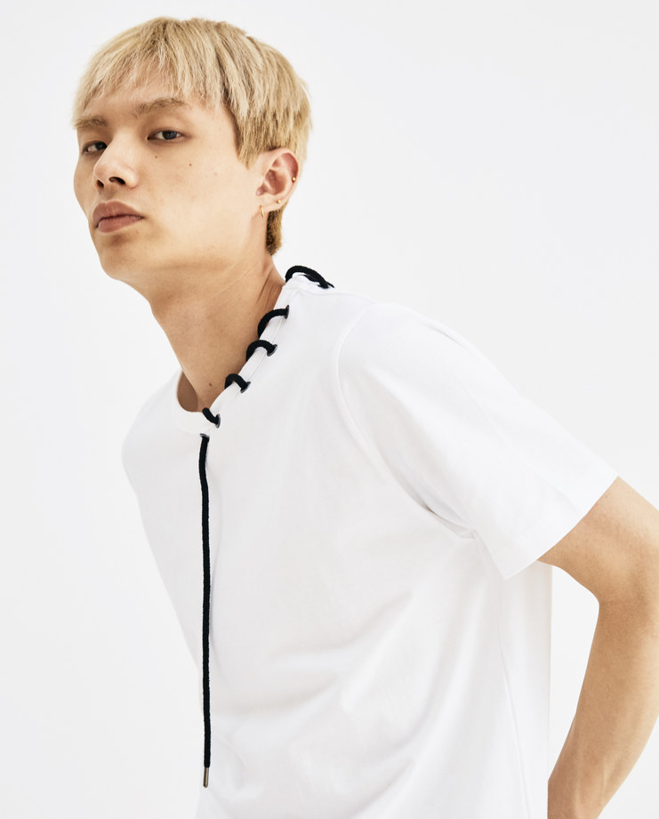 Craig Green Black Rope Laced T-Shirt tee cotton tie ss18 aw18 core creig lfw machine a eyelet CGAW18CJETS01 white