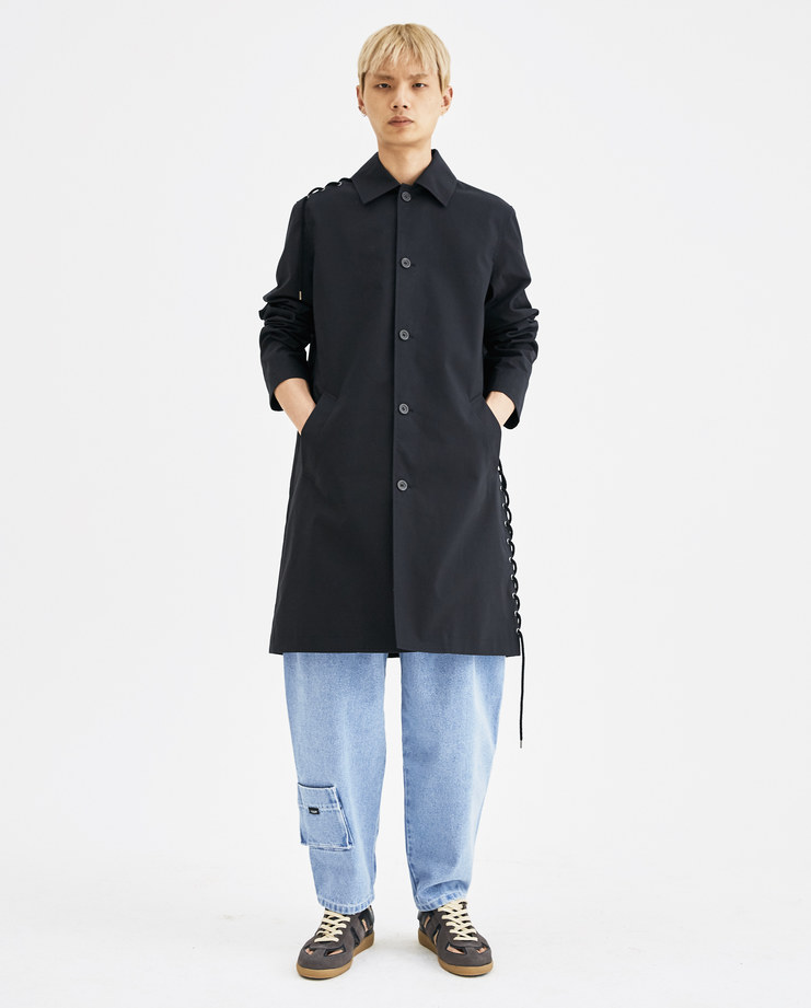 CGAW18CWO01 Craig Green Laced black Long Coat rope anorak collar cotton parka button lace up ss18 aw18 core machine creig canvas collection