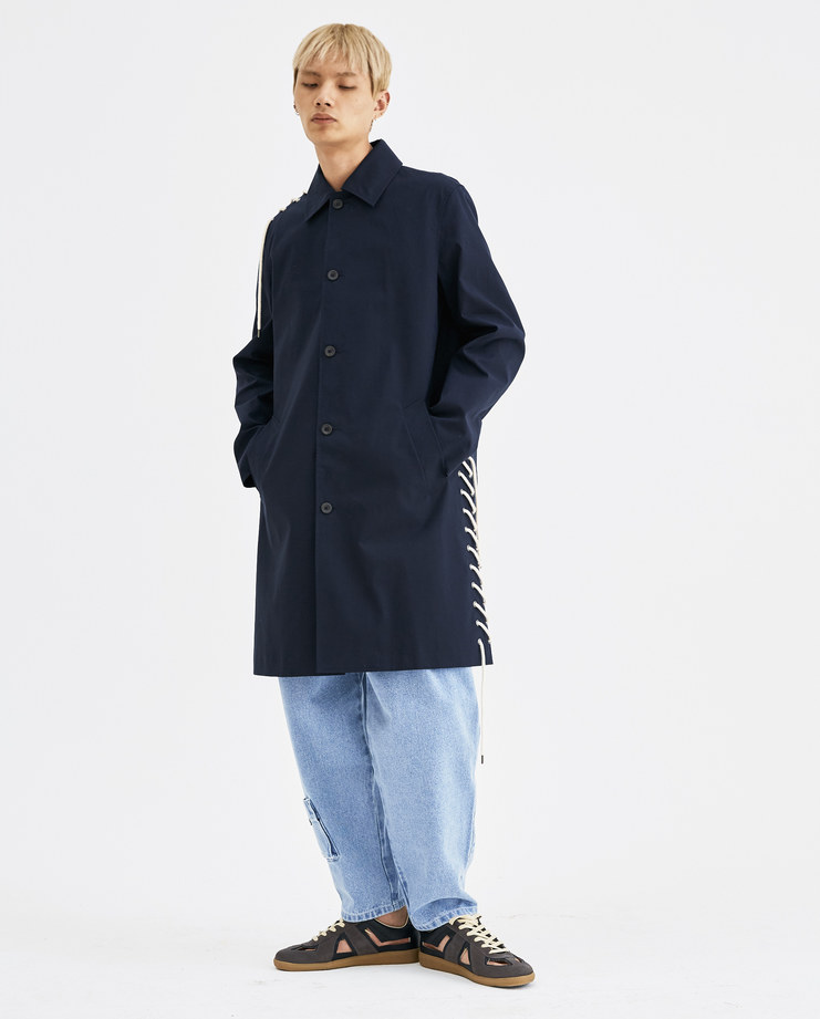 CGAW18CWO01 Craig Green Laced Long Coat rope anorak collar cotton parka button lace up ss18 aw18 core machine creig canvas collection navy blue cream