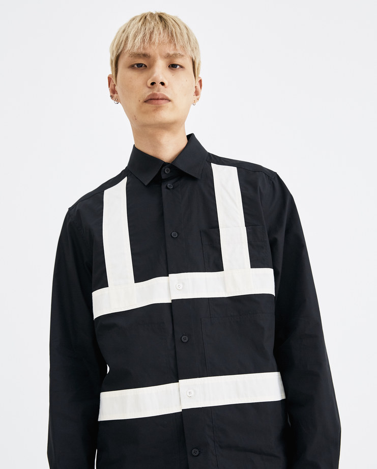 CGAW18CWOSH06 Craig Green Black Fitted Harness Shirt cotton button cream calico strap stitch ss18 aw18 core collection lfw machine a jacket light