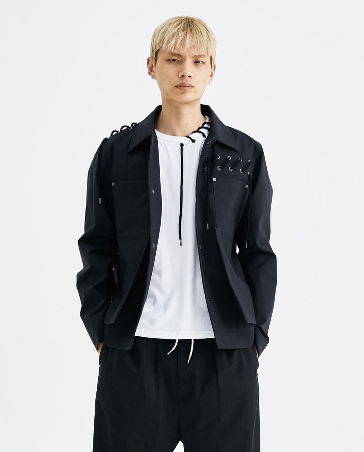 CGAW18CWOJK07 Craig Green Laced Workwear Jacket core ss18 aw18 core creig black lace up cotton short collar lfw machine a rope lace up
