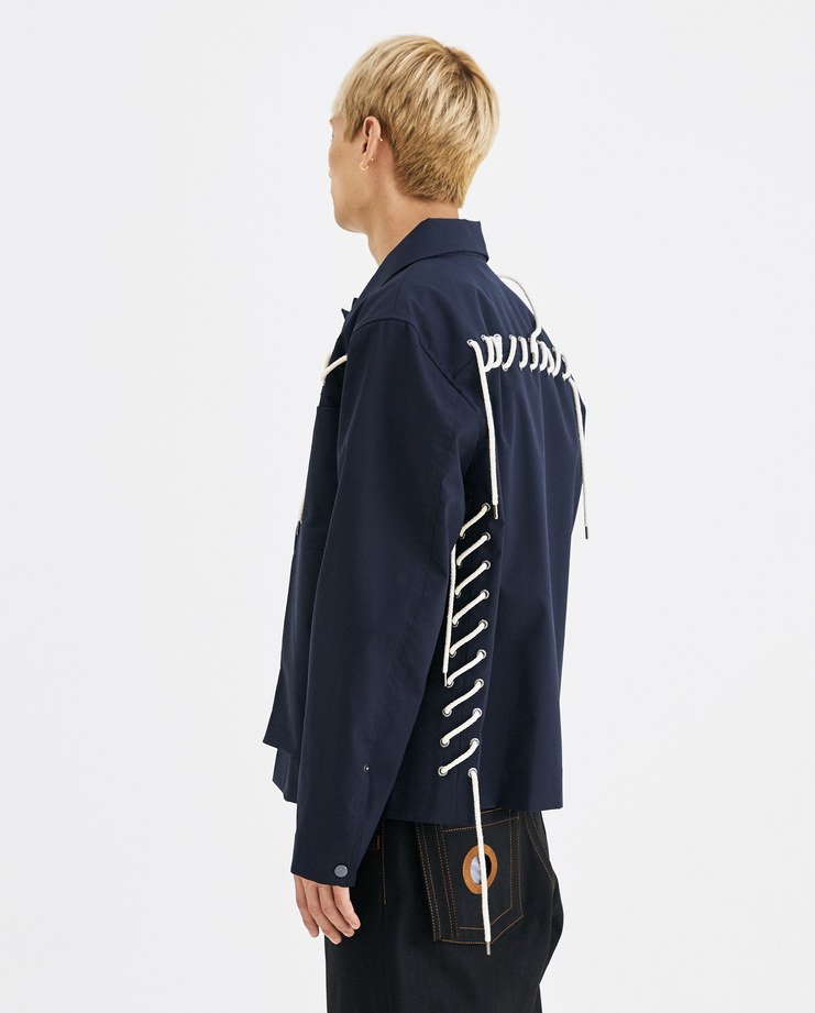 CGAW18CWOJK07 Craig Green Laced Workwear Jacket core ss18 aw18 core creig navy blue cream lace up cotton short collar lfw machine a rope lace up