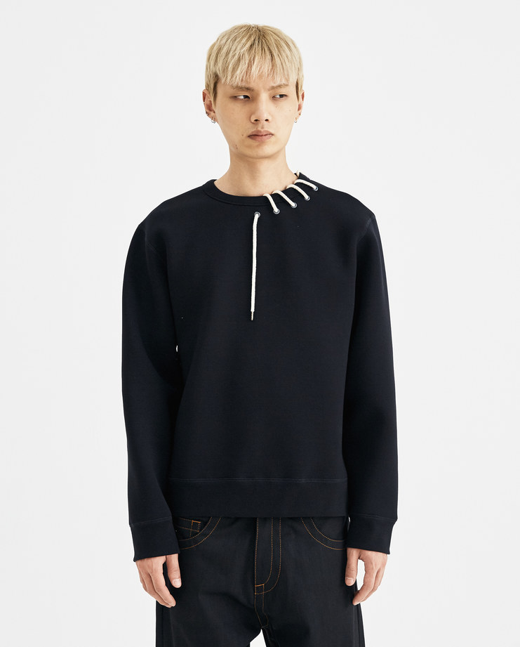Craig Green Black Laced Bonded Sweatshirt cotton sweater jumper ss18 aw18 core collection creig lfw machine a neoprene rope white cream