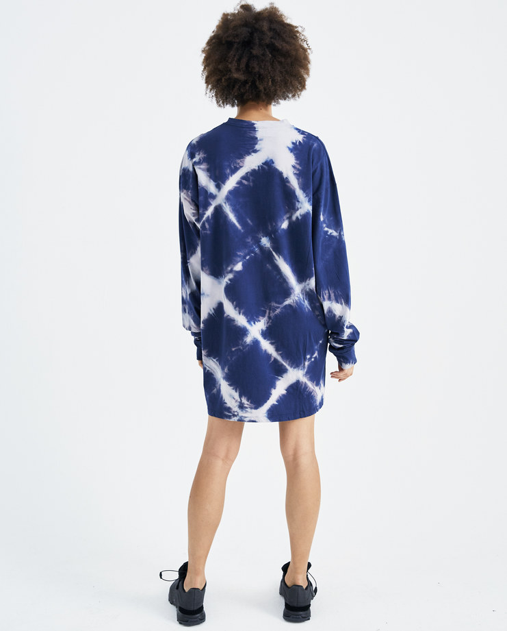 ARIES Navy Bleached Argyle Dress SOAR50002 womens t-shirt sweatshirt dress crew neck SS18 spring summer showstudio machine a