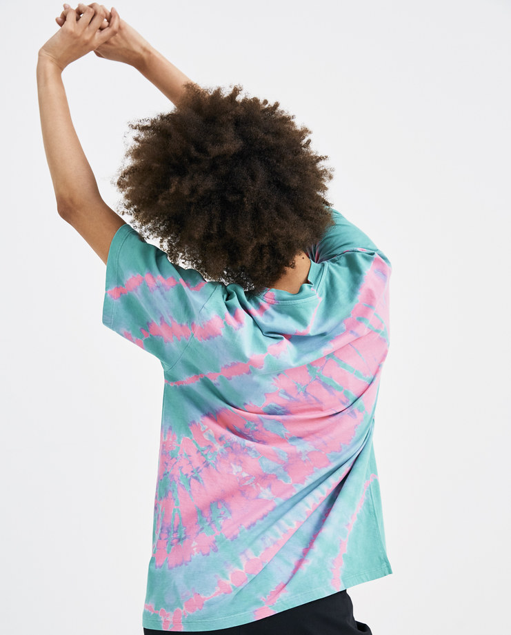 ARIES Pink and Aqua Tie Dye T-Shirt SOAR60001 womens tops temple chest logo tee SS18 spring summer showstudio machine a