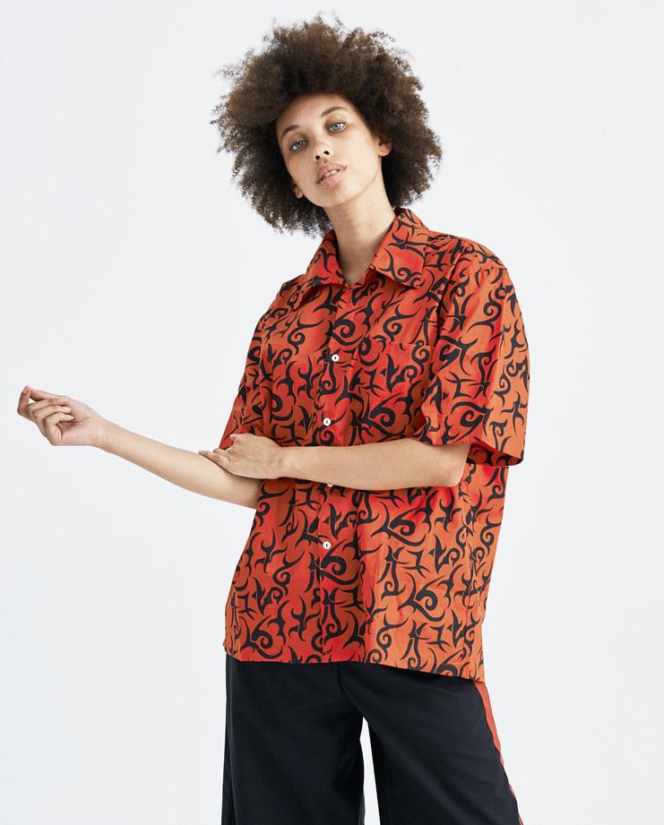 Aries Red Tribal Hawaiian Shirt cotton button short sleeve hawaii tattoo graphic ss18 spring summer machine a london SOAR40102