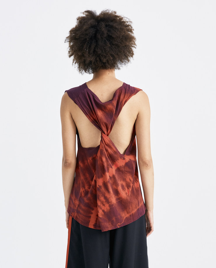 ARIES Red and Navy Twisted Tie Dye Vest SOAR60002 womens sleeveless tops tank vest loop SS18 spring summer showstudio machine a