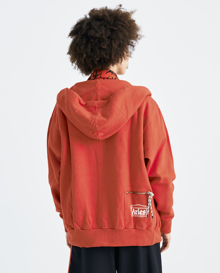 ARIES Red Zip Up Pocket Hoodie SOAR20200 womens tops hoodies hooded sweater pockets SS18 spring summer showstudio machine a