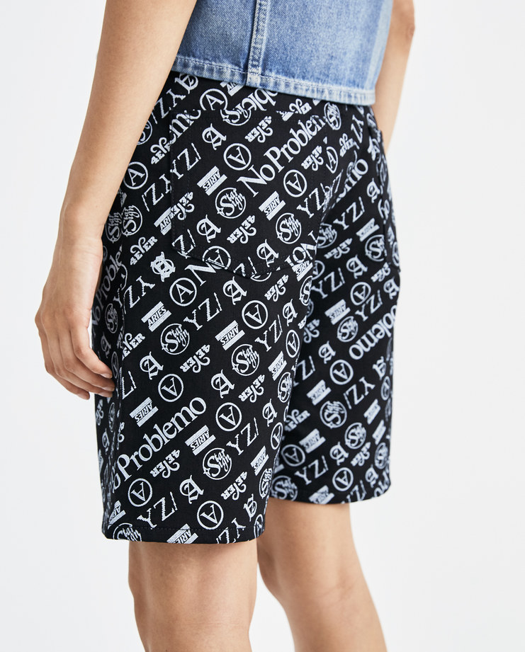 ARIES Lilly Monogram Jeans SOAR30304 womens black and white short jeans bottoms shorts SS18 spring summer showstudio machine a