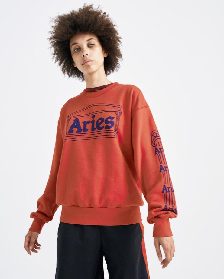 ARIES Red and Navy Temple Crew Sweatshirt SOAR20101 womens tops sweatshirts hoodie temple logo columns print SS18 spring summer showstudio machine a
