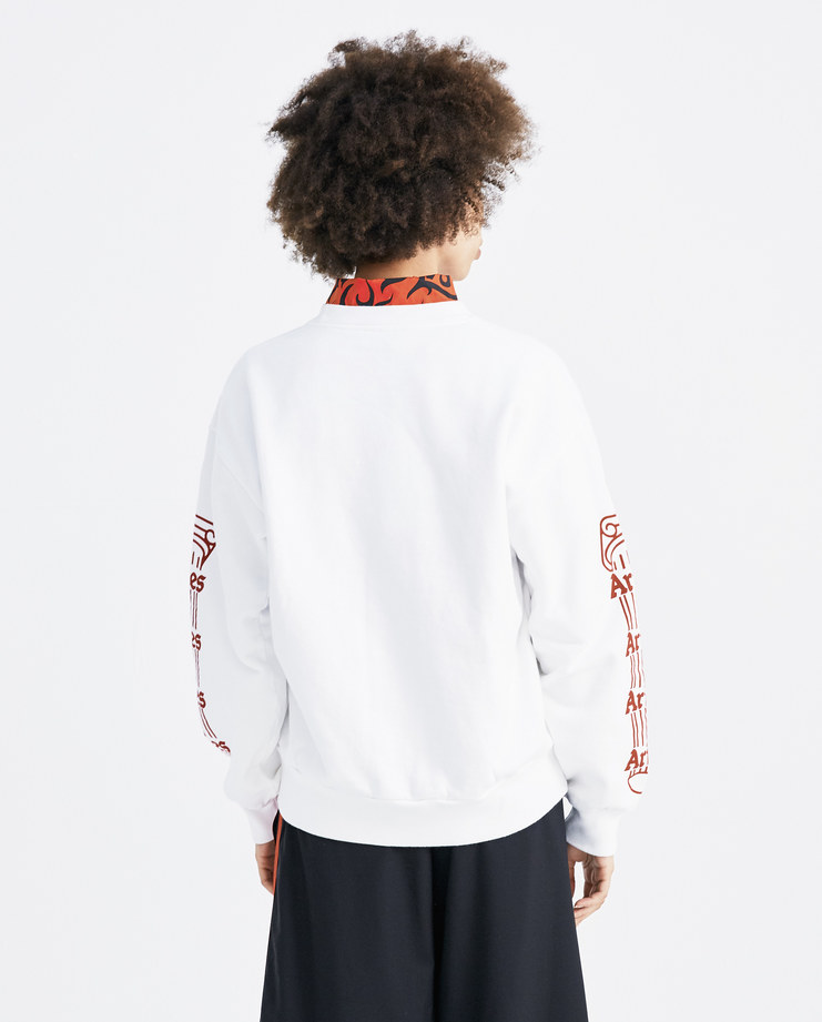 ARIES White and Red Temple Crew Sweatshirt SOAR20101 womens tops sweatshirts hoodie temple logo columns print SS18 spring summer showstudio machine a